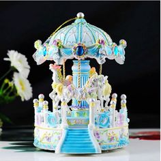BLUE house Carousel Music Box /MERRY-GO-ROUND Classic Music box with 2 songs