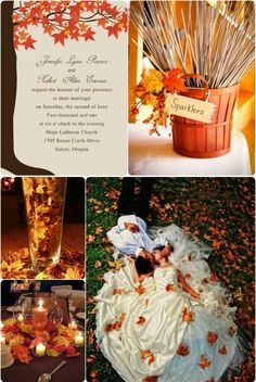 "perfect maple leaves inspired fall wedding ideas// Use coupon code ""CVB"" to get 10% off towards all the invitations. #elegantweddinginvites"