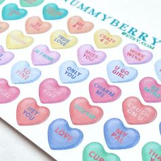 Candy Heart Sticker Art Sheet by NummyBerry on Etsy