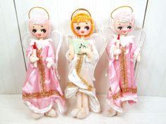 Vintage Angel Pose Doll Christmas Set Made in Japan Poseable Lot Big Eye Pink | eBay