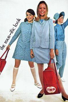 "vintagefashionandbeauty: ""Blue striped fashions in Teen magazine, 1968. (♥) """