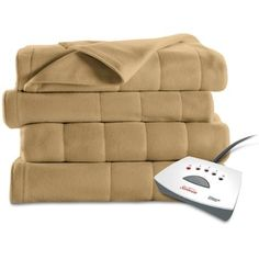 Sunbeam Quilted Fleece Heated Blanket with Easyset Pro Controller, Queen, Acorn * Want additional info? Click on the image.
