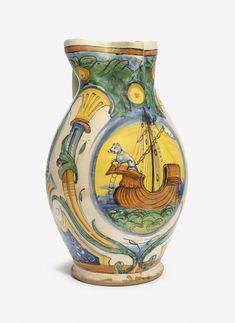 A MONTELUPO LARGE OVIFORM EWER | CIRCA 1570-80, A MARK BELOW HANDLE | maritime, jugs | Christie's