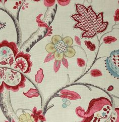 A jacobean tree of life design printed linen in red, aqua and gold on a beige background