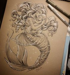 Mermaid mother and baby. Merbaby