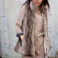 Nwot Long Brown Banana Republic Fur Vest