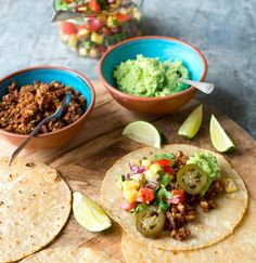 Vegan tacos - nut-mince, salsa, guac tacos with a option. These tasty tacos can't be missed!tacos with a option. These tasty tacos can't be missed! Vegetarian Recipes, Healthy Recipes, Vegan Meals, Vegan Food, Healthy Foods, Yummy Recipes, Pineapple Salsa, Mango Salsa, Kitchens