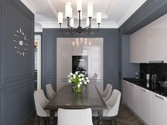 Dining table in kitchen Beautiful Interior Design, Classic Interior, Room Inspiration, Interior Inspiration, Kitchen Interior, Kitchen Design, Orac Decor, Classic Dining Room, Home Modern