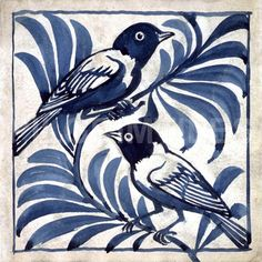 William de Morgan was a key figure of the Arts and Crafts movement. From his studio at the Orange House in Chelsea he designed and produced a bewildering array of ceramic tiles decorated with foliage, animals and birds in the style of William Morris. Art And Craft Design, Art Design, Tile Design, William Morris, Vogel Illustration, Motif Art Deco, Art And Craft Videos, Blue China, Decorative Tile