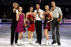 Charlie White and Meryl Davis, Tessa Virtue and Scott Moir of Canada, Kaitlyn Weaver and Andrew Poje of Canada pose for photographers after the Ice Dance Competition during the ISU Four Continents Figure Skating Championships at World Arena on February 12, 2012 in Colorado Springs, Colorado.    Source: http://www.daylife.com/photo/0e1R2D34Ow4fn?__site=daylife&q=figure+skating