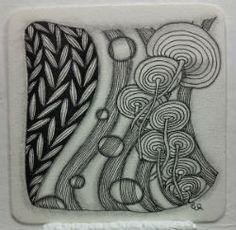 Ein Zentangle aus den Mustern Strircles, Sedgling, Zag V,  gezeichnet von Ela Rieger