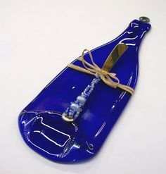 Flattened Eco Friendly Blue Wine Bottle Cheese Tray by CDChilds