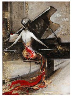 Femmes en robe rouge jouant de la peinture à l'huile de piano à queue sur toile décoré par feuille et acrylique or  Son unique, un nouveau d'une peinture à l'huile genre droit de mon studio!  Tableau encadré et prêt à accrocher. Toile tendue planche de mdf d'om. Toile taille 11,5 x 8 pouces (21 x 30 cm) cadre sauvage près de 2 pouces (5 cm)  Votre peinture sera emballé sur la boîte de styromousse. Tous les colis aura le numéro de suivi. Estimation pour les USA 15-30 jours (avant Noël il…
