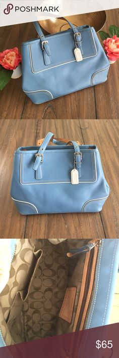 Blue Coach Bag Light blue leather  Coach bag with white trim. Good condition. I rarely carried it. Great for spring and summer carrying! Coach Bags Satchels