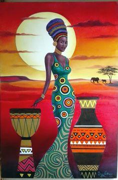 African Drawings, African Art Paintings, Rasta Art, Black Art Painting, Black Art Pictures, Black Love Art, African American Artist, Africa Art, Unusual Art