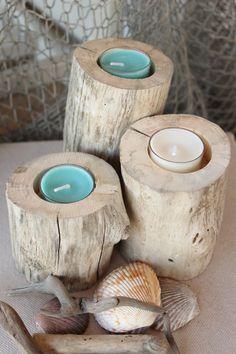 Natural Driftwood Tea Light Candle Holders