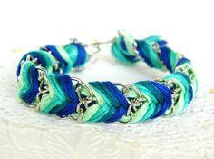 Emerald Peacock - Mint, Sea Green, Rich Turquoise, & Royal Blue - Chevron Braided Modern Friendship Bracelet - Silver Chain