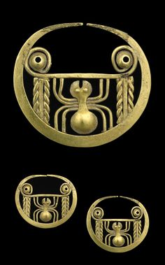 PRE-COLUMBIAN ( Moché -Peru) 100-800 A.D. Ear ornaments with spiders; hammered, cut and filigreed gold