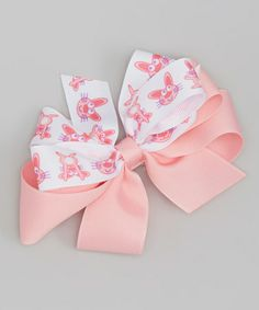 Another great find on #zulily! Pink & White Easter Bunny Bow Clip #zulilyfinds