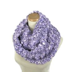 Purple Knit Infinity Scarf Hand Knit Scarf Gift by ArlenesBoutique