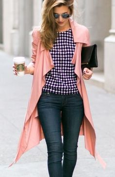 Love the blouse and shoes with the pastel trench. We would add gold accessories to round out the look!