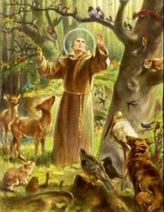 St. Francis preaching to the animals, for they too are God's creation.