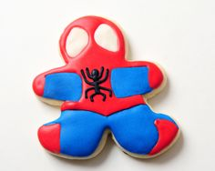 Spiderman Sugar Cookies cute and taste great!  Check out quiltyconfections on Esty!  Lots of different kinds.