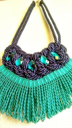 Navy Blue Rope Necklace with Petroleum Crystals by SaraKeyHandmade