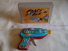 "New VINTAGE Yonezawa Tinplate Lithographed Sparkling Space Gun Made in Japan 5"" | eBay"