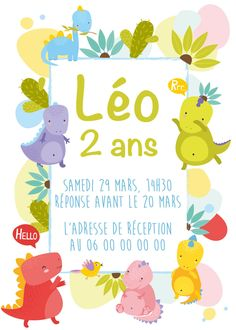 Invitation anniversaire dinosaure personnalisable !  Contactez moi par email ou sur www.j-b-design.fr   #invitation #anniversaire #birthday #enfant #dinosaure #marseille #france #paris #var #draguignan Marseille France, Paris France, Invitation, Email, Etsy, Design, Wedding Stationery, Impressionism, Kid