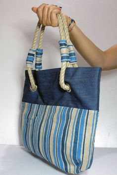 Blue Denim Tote Bag by KarmaDesignItaly on Etsy Denim Tote Bags, Denim Purse, Ethno Style, Diy Sac, Bag Patterns To Sew, Patchwork Bags, Fabric Bags, Handmade Bags, Handmade Leather