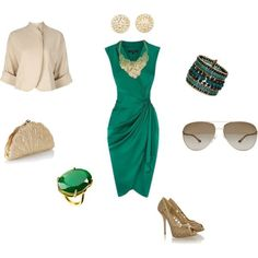 A fashion look from October 2012 featuring pink short jacket, peep toe platform pumps and metallic leather handbags. Browse and shop related looks. Turquoise Dress Outfit, Fuchsia Dress, Green Dress, Nyc Fashion, Fashion Books, Autumn Fashion, Womens Fashion, Chic Outfits, Dress Outfits
