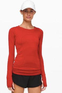 Shop the Swiftly Tech Long Sleeve Crew Yoga Fashion, Red Shirt, Athletic Wear, Athletes, Style Guides, Casual Wear, Cardio, Tankini, Winter Outfits