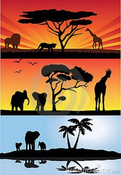 sun set and african animal silhoute art by kids   ... different illustrations of african landcsape with african animals