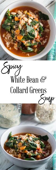 Spicy White Bean and Collard Greens Soup with Rice - A delicious recipe for the vegetarians in your life. Its hearty, healthy and only 3 SmartPoints per serving on Weight Watchers. Healthy Soup Recipes, Bean Recipes, Chili Recipes, Vegetarian Recipes, Cooking Recipes, Cooking Tips, Vegetarian Barbecue, Going Vegetarian, Vegan Soups