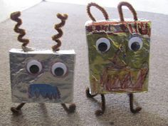 Mrs. V made our recycled alien crafts with her kids at their Alien Party. Tutorial here: http://www.craftjr.com/recycled-crafts-make-aliens-monsters-from-carboard-boxes/