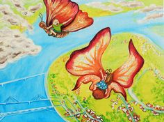 Flying Butterfly Friends acrylic painting landscape by LilyMokus on Etsy
