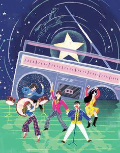 뮤지컬 '별이 빛나는 밤에' 를 위한 그림의 일부 a part of the illustration that I created for the musical 'Starry starry night' which is based on the radio show program that was popular in the 90's.