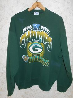 Vintage 1990s Green Bay Packers 1996 NFC Champs Super Bowl XXXI NFL  Crewneck Sweatshirt Retro Hip Hop 90s Green Long Sleeve Mens XLarge 2d4388ff6