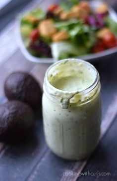 Creamy Avocado Ranch Dressing made with or without dairy is perfect on salads and as a dip.