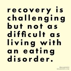 Reminder: recovery is challenging, but not as difficult as living with an eating disorder. Addiction Quotes, Addiction Recovery, Eating Dissorders, Recovery Quotes, Ed Recovery, True Quotes, Quotes Quotes, Dream Quotes, Qoutes