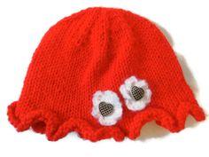 Baby Hat Knit Ruffle Brim 03 months by PreciousBowtique on Etsy, $7.95