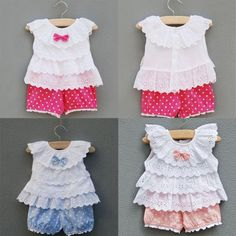 Sweet Baby Kid Girl Outfit Clothes Ruffled T-shirt Tops + Dot Pant Suit - Kid Shop Global - Kids & Baby Shop Online - baby & kids clothing, toys for baby & kid Baby Outfits, Little Girl Dresses, Toddler Outfits, Kids Outfits, Girls Dresses, Frock Design, Vetements T Shirt, Kids Frocks Design, Baby Shop Online