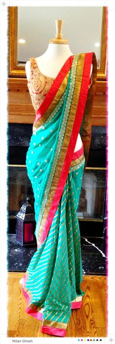 Turquoise pink sari, Gota Laheriya on georgette. Indian Attire, Indian Ethnic Wear, Indian Outfits, Indian Dresses, Indian Clothes, Saree Blouse Patterns, Saree Blouse Designs, Saris, Elegant Saree