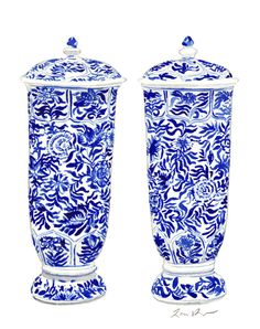 Blue and White Ginger Jar Vases  Original by LauraRowStudio