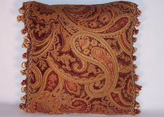 Gold and Red Chenille Paisley Throw Pillow with by PillowDetails