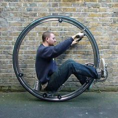 Designer Ben Wilson has produced a monowheel – a cycle where the rider sits inside a large, spokeless wheel.