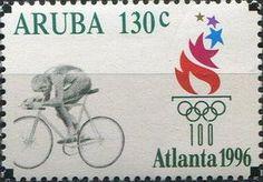 Stamp: Cyclist (Aruba) (Olympic Games) Mi:AW 179,Sn:AW 138,Yt:AW 176,NVP:AW 179