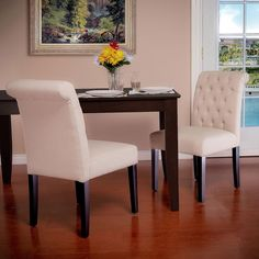 Christopher Knight Home Ivory Fabric Dining Chairs (Set of 2) | Overstock.com
