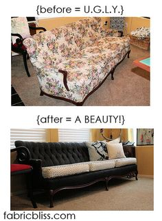 before and after of a painted couch. - yes, apparently you can paint a couch.